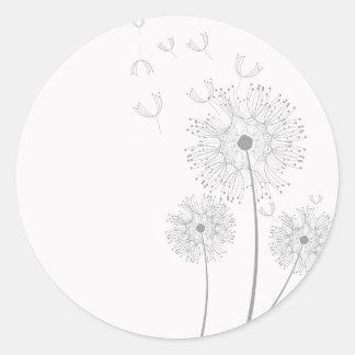 El diente de león de los flores florece destino pegatina redonda