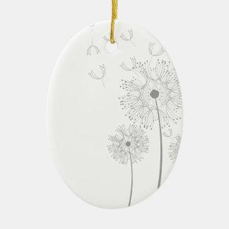El diente de león florece ducha romántica del boda adorno ovalado de cerámica