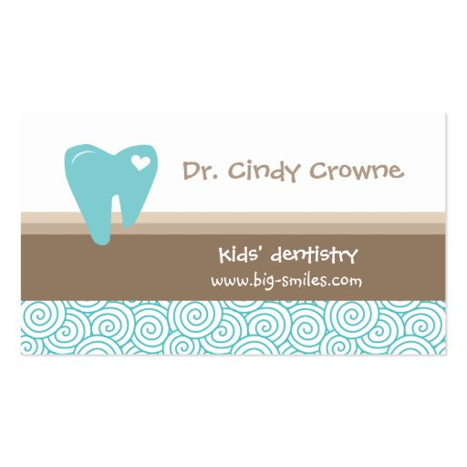 El diente lindo dental del corazón de la tarjeta d tarjeta de visita