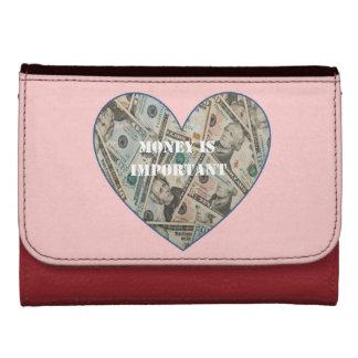 El dinero es cartera importante del cuero del cora