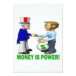 """El dinero es poder invitación 5"""" x 7"""""""