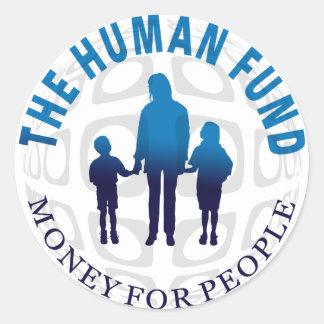 El dinero humano del fondo para los pegatinas de etiquetas redondas