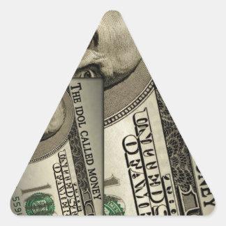 El dinero llamado del ídolo pegatina triangular