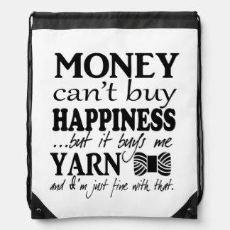 El dinero no da la felicidad - artes/hilado mochilas