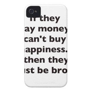 El dinero no da la felicidad rojo azul negro Broke iPhone 4 Case-Mate Funda