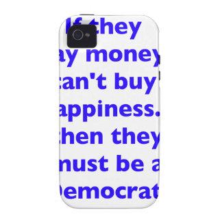 El dinero no da la felicidad rojo azul negro de De iPhone 4 Carcasas