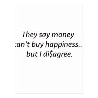 El dinero no da la felicidad rojo azul negro de postales