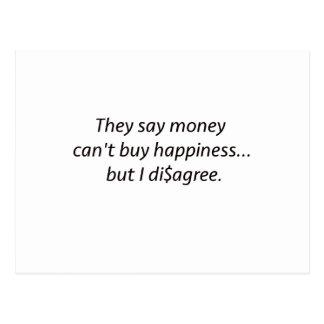 El dinero no da la felicidad rojo azul negro de tarjetas postales