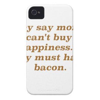 El dinero no da la felicidad rojo negro de Bacon2  iPhone 4 Case-Mate Fundas