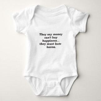 El dinero no da la felicidad rojo negro de Bacon2 Mameluco De Bebé