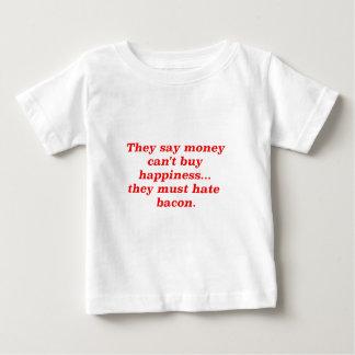 El dinero no da la felicidad rojo negro de Bacon2 Playera