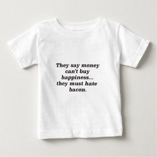 El dinero no da la felicidad rojo negro de Bacon2 Playeras