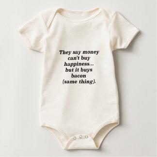 El dinero no da la felicidad rojo negro de Brown Mamelucos De Bebé