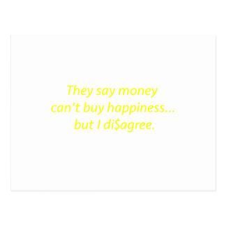 El dinero no da la felicidad verde amarillo pi de postal