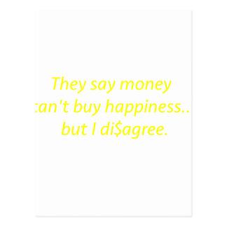 El dinero no da la felicidad verde amarillo pi de tarjeta postal