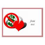 El dinero no puede comprar mi amor tarjetas de visita grandes