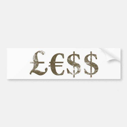 El dinero vale menos pegatina de parachoque