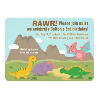 """El dinosaurio colorido embroma a la fiesta de invitación 5"""" x 7"""""""