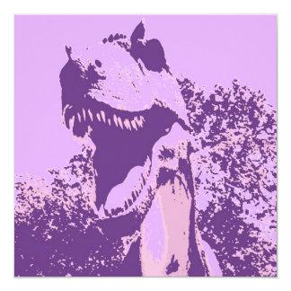 """El dinosaurio del cumpleaños invita invitación 5.25"""" x 5.25"""""""