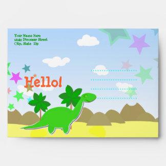 El dinosaurio del dibujo animado del personalizado sobres