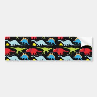 El dinosaurio diseña verde del rojo azul en negro pegatina de parachoque