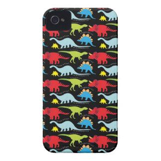El dinosaurio diseña verde del rojo azul en negro Case-Mate iPhone 4 cárcasas