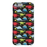 El dinosaurio diseña verde del rojo azul en negro funda de iPhone 6 barely there
