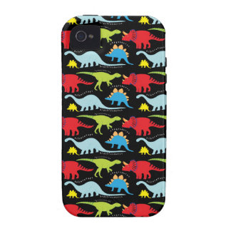 El dinosaurio diseña verde del rojo azul en negro iPhone 4/4S carcasa