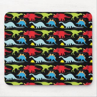 El dinosaurio diseña verde del rojo azul en negro mouse pad