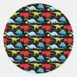 El dinosaurio diseña verde del rojo azul en negro pegatina