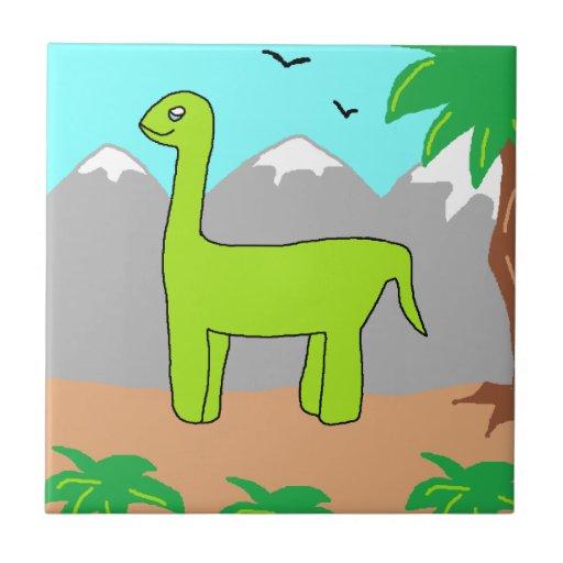 El dinosaurio feliz azulejo cuadrado pequeño