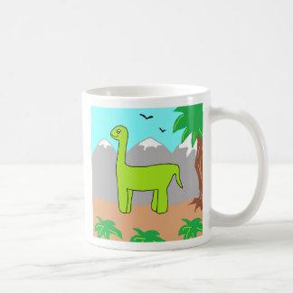 El dinosaurio feliz taza básica blanca