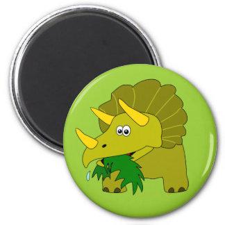 El dinosaurio lindo del Triceratops embroma favore Imán Redondo 5 Cm