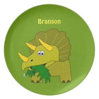 El dinosaurio lindo del Triceratops personalizado Platos
