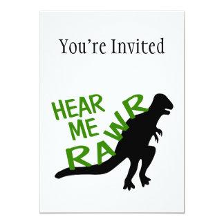 El dinosaurio me oye Rawr Invitación 12,7 X 17,8 Cm