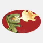 El dinosaurio o el dragón embroma arte con Loston Pegatina Ovalada