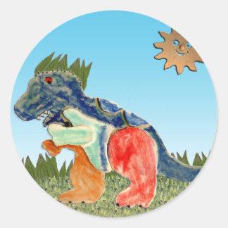 El dinosaurio preocupante pegatina redonda