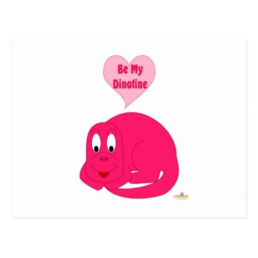 El dinosaurio rosado brillante del bebé lindo sea  postal