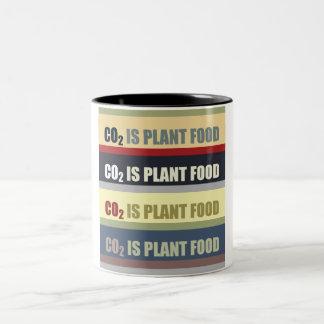 El dióxido de carbono es fortalecedor de plantas taza de dos tonos