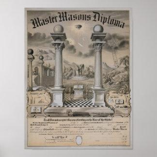 El diploma principal del albañil póster