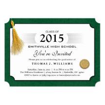 El diploma verde de la frontera con la graduación invitación 12,7 x 17,8 cm