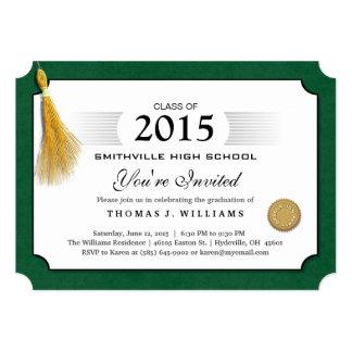 """El diploma verde de la frontera con la graduación invitación 5"""" x 7"""""""