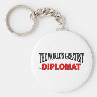 El diplomático más grande del mundo llavero redondo tipo pin