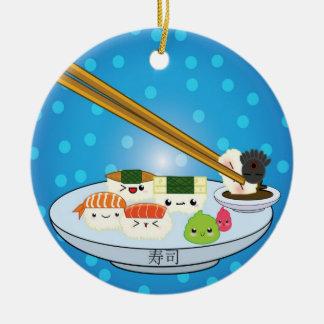 El disco DBL del sushi echó a un lado ornamento Adorno Navideño Redondo De Cerámica