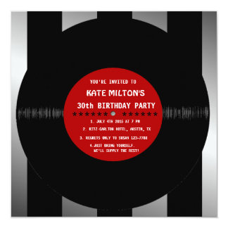 El disco de vinilo retro l fiesta de cumpleaños comunicado personalizado