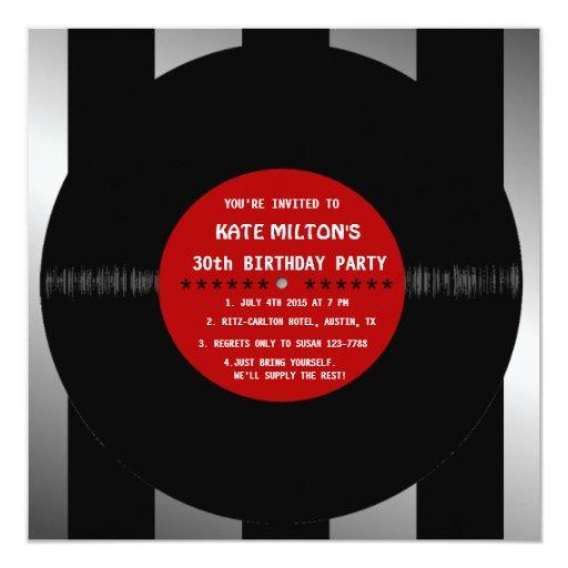 """El disco de vinilo retro l fiesta de cumpleaños invitación 5.25"""" x 5.25"""""""