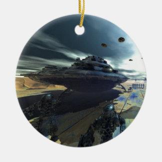 el disco estupendo adorno navideño redondo de cerámica