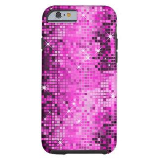 El disco rosado metálico de la mirada de las funda de iPhone 6 tough