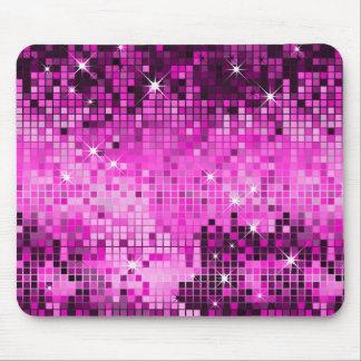El disco rosado metálico de la mirada de las lente tapete de ratones