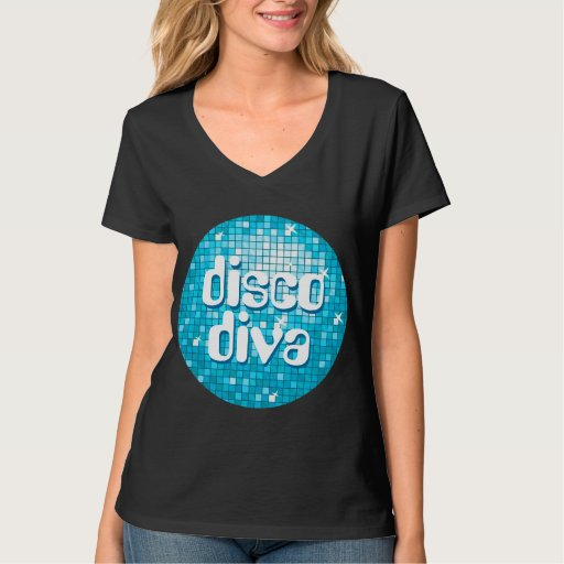 "El disco teja ""cuello en v azul de la diva del playera"
